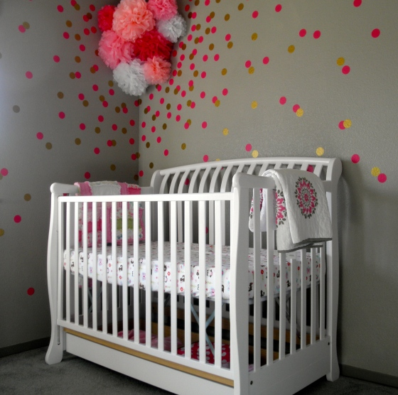 Baby Girl Nursery Pink Teal Gold Grey